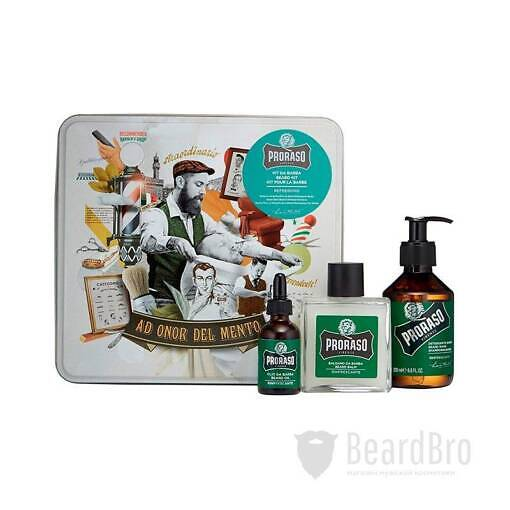 Набор Для Бороды Proraso Metal Box Beard Care Refreshing Gift Set